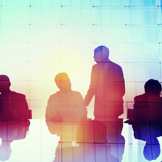 44637678 - silhouette global business people meeting concept