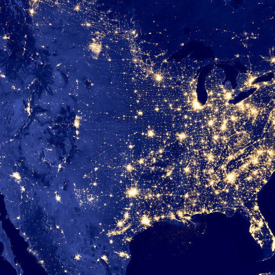 72965260 - america by night - elements of this image are furnished by nasa